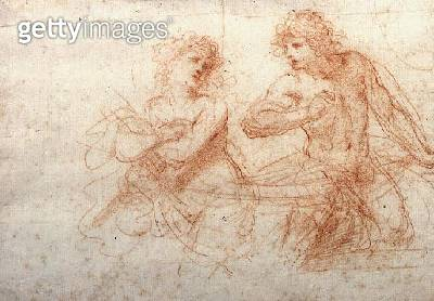 <b>Title</b> : Study of a Naked Man and Woman (red chalk)<br><b>Medium</b> : <br><b>Location</b> : Private Collection<br> - gettyimageskorea