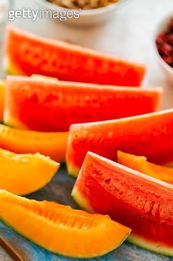 Fresh Watermelon and Honeydew Melon - gettyimageskorea