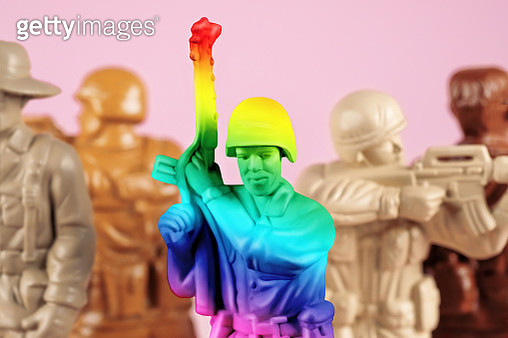Multicolored toy soldiers representing diversity and gay people in the military. - gettyimageskorea