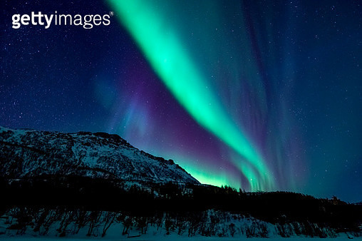 Northern Lights or Aurora borealis in Lofoten islands, Norway. Polar lights in a starry sky over a snowy winter landscape during a cold winter night. - gettyimageskorea