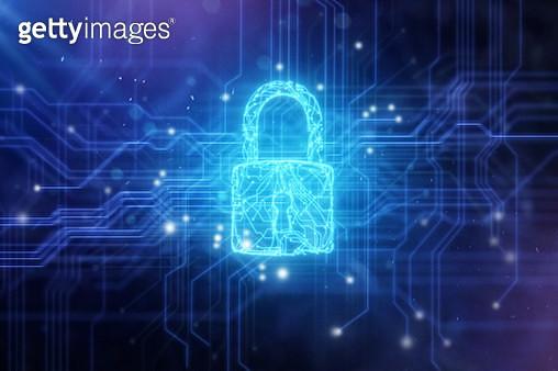 Security padlock in circuit board background. - gettyimageskorea