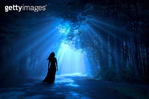 silhouette woman in forest moonlight - gettyimageskorea
