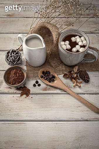 Christmas Hot Chocolate on a retro white wood background - gettyimageskorea