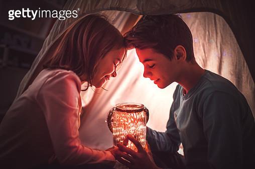 Happy kids having party in tent - gettyimageskorea