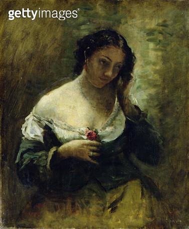 <b>Title</b> : The Girl With The Rose, c.1865 (oil on canvas)<br><b>Medium</b> : oil on canvas<br><b>Location</b> : Hamburger Kunsthalle, Hamburg, Germany<br> - gettyimageskorea