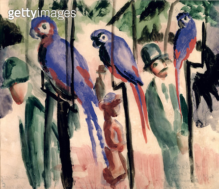 <b>Title</b> : Blue Parrots (w/c on paper)<br><b>Medium</b> : watercolour on paper<br><b>Location</b> : Stadtisches Museum, Mulheim, Germany<br> - gettyimageskorea