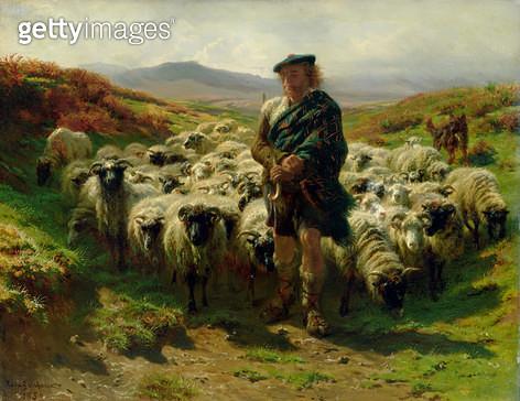 <b>Title</b> : The Highland Shepherd, 1859 (oil on canvas)<br><b>Medium</b> : oil on canvas<br><b>Location</b> : Hamburger Kunsthalle, Hamburg, Germany<br> - gettyimageskorea