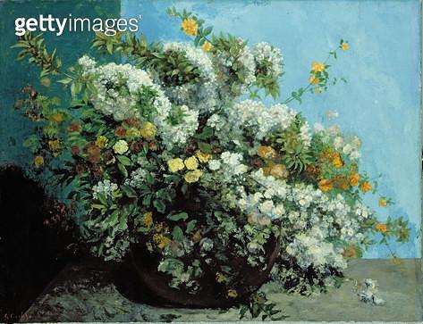 <b>Title</b> : Flowering Branches and Flowers, 1855 (oil on canvas)<br><b>Medium</b> : oil on canvas<br><b>Location</b> : Hamburger Kunsthalle, Hamburg, Germany<br> - gettyimageskorea