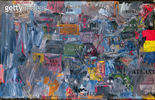 <b>Title</b> : Map, 1963 (oil on canvas)Additional Infoexhibited in 1964 Venice Biennale;<br><b>Medium</b> : <br><b>Location</b> : Private Collection<br> - gettyimageskorea