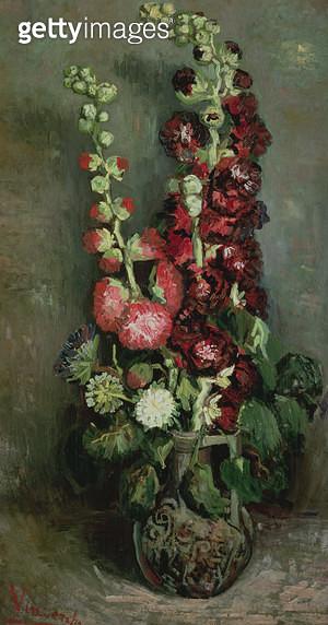 <b>Title</b> : Vase of Hollyhocks, 1886 (oil on canvas)<br><b>Medium</b> : oil on canvas<br><b>Location</b> : Kunsthaus, Zurich, Switzerland<br> - gettyimageskorea
