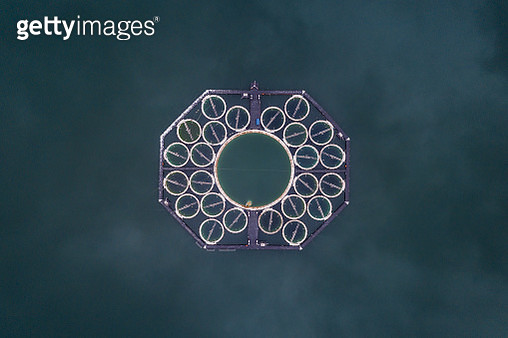 Strange fish farm structure in a lake as seen from above, Germany - gettyimageskorea