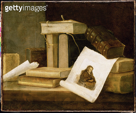 <b>Title</b> : Still Life of Books and a Rembrandt Engraving (oil on canvas)<br><b>Medium</b> : <br><b>Location</b> : The Detroit Institute of Arts, USA<br> - gettyimageskorea