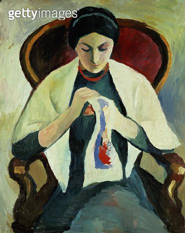 <b>Title</b> : Woman Sewing<br><b>Medium</b> : oil on canvas<br><b>Location</b> : Stadtisches Museum, Mulheim, Germany<br> - gettyimageskorea