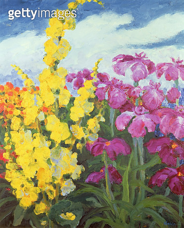 Mullein and Large Lilies (oil on canvas) - gettyimageskorea