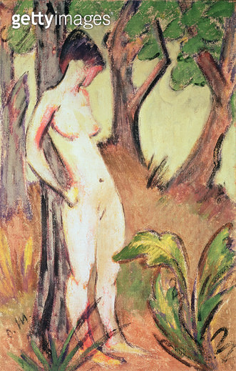 Nude Standing Against a Tree (oil on canvas) - gettyimageskorea