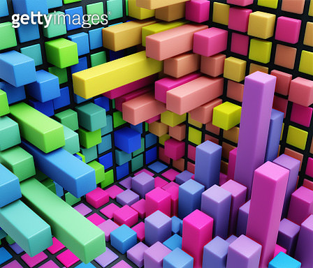 Three-dimensional bar chart - gettyimageskorea