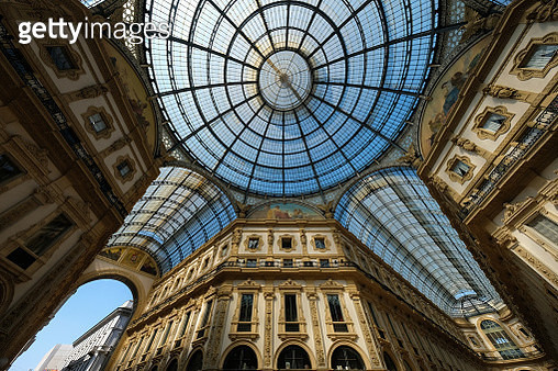 Historic building with bright windows seen from below in Milan - gettyimageskorea