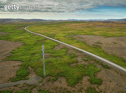 Desertification,  Kjalvegur Road, Central Highlands, Iceland. This image is shot using a drone. - gettyimageskorea