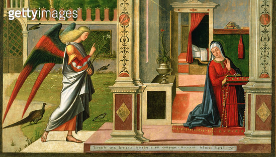 <b>Title</b> : The Annunciation (oil on panel) (detail of 120955)<br><b>Medium</b> : oil on panel<br><b>Location</b> : Ca' d'Oro, Venice, Italy<br> - gettyimageskorea