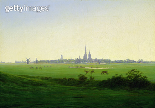 <b>Title</b> : Meadows near Greifswald (oil on canvas)<br><b>Medium</b> : oil on canvas<br><b>Location</b> : Hamburger Kunsthalle, Hamburg, Germany<br> - gettyimageskorea