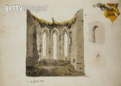 <b>Title</b> : Ruins of a Gothic Choir, 4th July 1810 (pencil and w/c on paper)<br><b>Medium</b> : pencil and watercolour on paper<br><b>Location</b> : Hamburger Kunsthalle, Hamburg, Germany<br> - gettyimageskorea