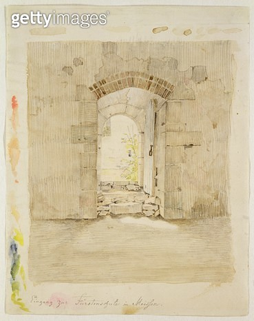 <b>Title</b> : Entrance Gate to the Royal School in Meissen (pencil and w/c on paper)<br><b>Medium</b> : pencil and watercolour on paper<br><b>Location</b> : Hamburger Kunsthalle, Hamburg, Germany<br> - gettyimageskorea