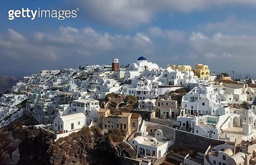 Aerial view of villas in Firostefani resort, Santorini island - gettyimageskorea