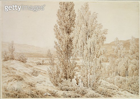 <b>Title</b> : Summer (sepia ink and pencil on paper)<br><b>Medium</b> : sepia ink and pencil on paper<br><b>Location</b> : Hamburger Kunsthalle, Hamburg, Germany<br> - gettyimageskorea