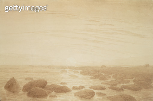 <b>Title</b> : Moonrise on the Sea (Sunset across the Sea) (sepia ink and pencil on paper)<br><b>Medium</b> : sepia ink and pencil on paper<br><b>Location</b> : Hamburger Kunsthalle, Hamburg, Germany<br> - gettyimageskorea