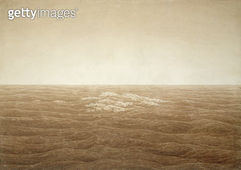 <b>Title</b> : Sea at Sunrise, 1828 (sepia ink over pencil on paper)<br><b>Medium</b> : sepia ink over pencil on paper<br><b>Location</b> : Hamburger Kunsthalle, Hamburg, Germany<br> - gettyimageskorea