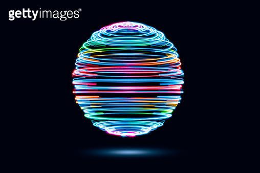 Spinning Iridescent Light Trails Sphere - gettyimageskorea