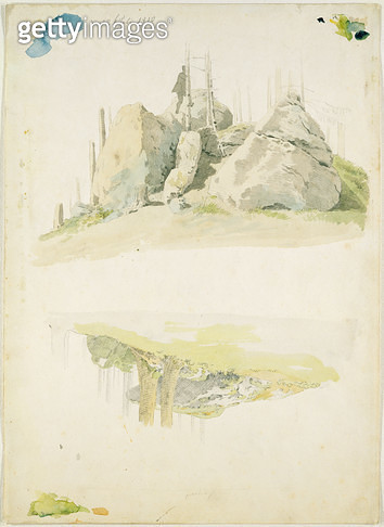 <b>Title</b> : Rock and Tree: Two Studies, 12th July 1810 (w/c and pencil on paper)<br><b>Medium</b> : watercolour and pencil on paper<br><b>Location</b> : Hamburger Kunsthalle, Hamburg, Germany<br> - gettyimageskorea