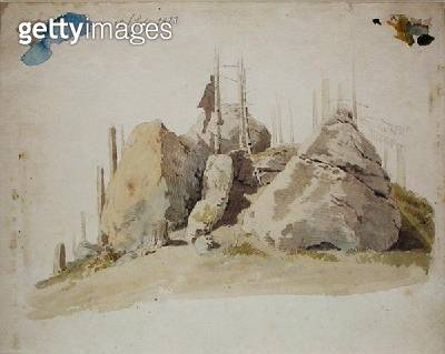 <b>Title</b> : Rock and Tree: unfinished study, 12th July 1810 (w/c and pencil on paper)<br><b>Medium</b> : watercolour and pencil on paper<br><b>Location</b> : Hamburger Kunsthalle, Hamburg, Germany<br> - gettyimageskorea
