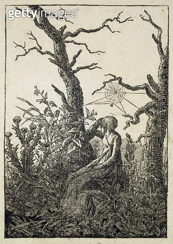 <b>Title</b> : The Woman with a Spider's Web in the middle of Leafless Trees (woodcut)<br><b>Medium</b> : woodcut<br><b>Location</b> : Hamburger Kunsthalle, Hamburg, Germany<br> - gettyimageskorea