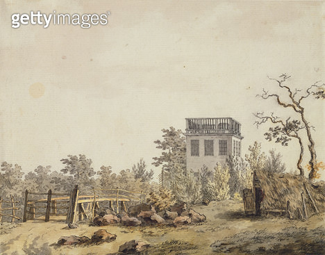 <b>Title</b> : Landscape with a Pavilion, c. 1797 (pen, ink and w/c on paper)<br><b>Medium</b> : pen, ink and watercolour on paper<br><b>Location</b> : Hamburger Kunsthalle, Hamburg, Germany<br> - gettyimageskorea