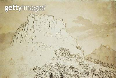 <b>Title</b> : Rocky Hilltop with a Wooded Hill in front (pencil, pen and w/c wash on paper)<br><b>Medium</b> : pencil, pen and watercolour wash on paper<br><b>Location</b> : Hamburger Kunsthalle, Hamburg, Germany<br> - gettyimageskorea