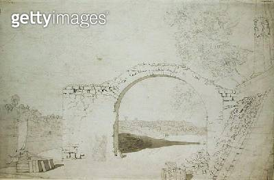 <b>Title</b> : River Landscape with an Arch (unfinished) (pencil, pen and w/c on paper)<br><b>Medium</b> : pencil, pen and watercolour on paper<br><b>Location</b> : Hamburger Kunsthalle, Hamburg, Germany<br> - gettyimageskorea