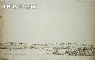 <b>Title</b> : View towards Putbus (pen and pencil on paper)<br><b>Medium</b> : pen and pencil on paper<br><b>Location</b> : Hamburger Kunsthalle, Hamburg, Germany<br> - gettyimageskorea