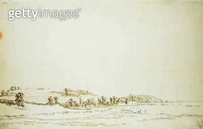 <b>Title</b> : South Coast of Rugen (pen and pencil on paper)<br><b>Medium</b> : pen and pencil on paper<br><b>Location</b> : Hamburger Kunsthalle, Hamburg, Germany<br> - gettyimageskorea