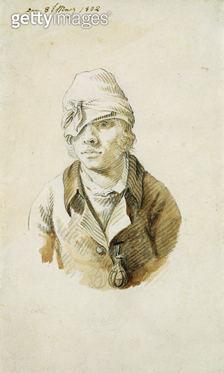 <b>Title</b> : Self Portrait with Cap and Eye Patch, 8th May 1802 (pencil, brush and w/c on paper)<br><b>Medium</b> : pencil, brush and watercolour on paper<br><b>Location</b> : Hamburger Kunsthalle, Hamburg, Germany<br> - gettyimageskorea