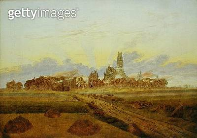 <b>Title</b> : Dawn at Neubrandenburg (oil on canvas)<br><b>Medium</b> : oil on canvas<br><b>Location</b> : Hamburger Kunsthalle, Hamburg, Germany<br> - gettyimageskorea