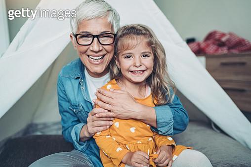 Happy grandmother and granddaughter - gettyimageskorea