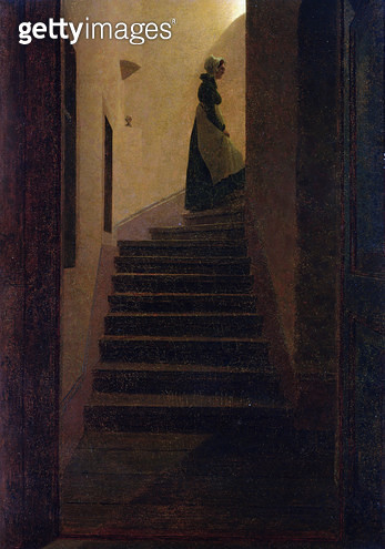 <b>Title</b> : Lady on the Staircase (oil on canvas)<br><b>Medium</b> : oil on canvas<br><b>Location</b> : Private Collection<br> - gettyimageskorea