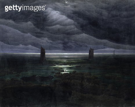<b>Title</b> : Sea Shore in Moonlight, 1835-36 (oil on canvas)<br><b>Medium</b> : oil on canvas<br><b>Location</b> : Hamburger Kunsthalle, Hamburg, Germany<br> - gettyimageskorea