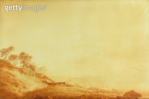 <b>Title</b> : Looking towards Arkona at sunrise, 1801 (ink on paper)<br><b>Medium</b> : ink on paper<br><b>Location</b> : Hamburger Kunsthalle, Hamburg, Germany<br> - gettyimageskorea