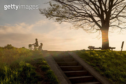 Bicycle which runs the bank - gettyimageskorea