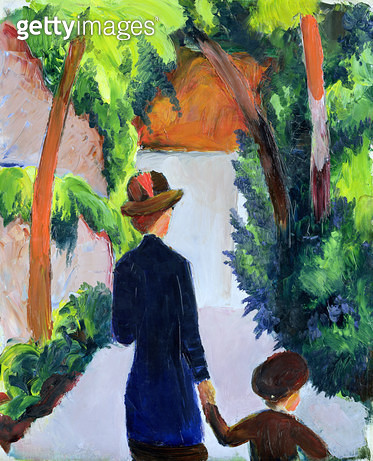 <b>Title</b> : Mother and Child in the Park, 1914 (oil on canvas)<br><b>Medium</b> : oil on canvas<br><b>Location</b> : Hamburger Kunsthalle, Hamburg, Germany<br> - gettyimageskorea