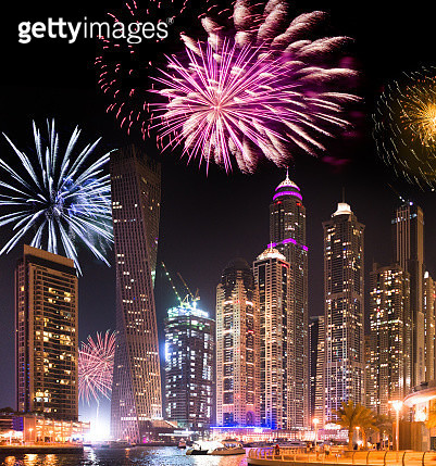 Dubai marina skyline with fireworks for the new year - gettyimageskorea