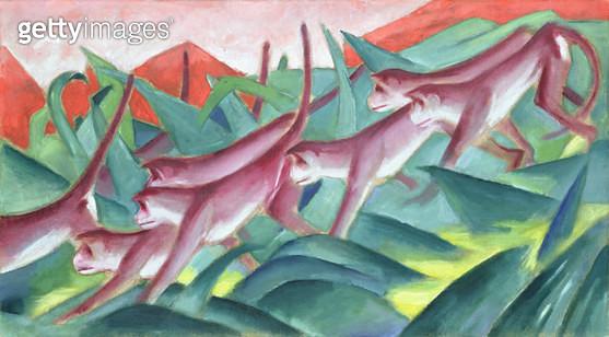<b>Title</b> : Monkey Frieze, 1911 (oil on canvas)<br><b>Medium</b> : oil on canvas<br><b>Location</b> : Hamburger Kunsthalle, Hamburg, Germany<br> - gettyimageskorea