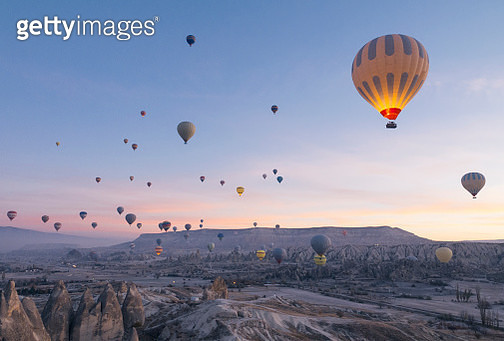 Cappadocia, Hot Air Balloon, red and rose valley, Famous Place, Turkey - Middle East - gettyimageskorea